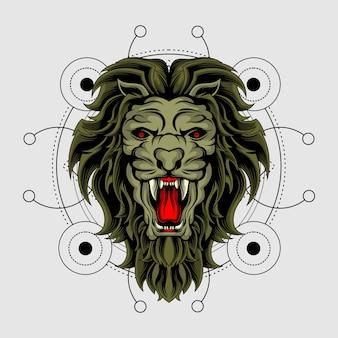 Der könig des tieres mit heiliger geometrie