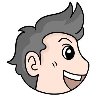 Der kopf des gutaussehenden mannes lachte aus der seitenecke, vektorillustrationskarton-emoticon. gekritzelsymbol-zeichnung