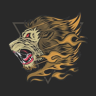 Der kopf des löwen heulte vor wut und er hatte feuerhaare.