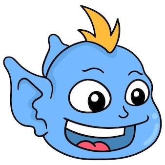 Der kopf des niedlichen goblins mit haube lachte glücklich, vektorillustrationskarton-emoticon. gekritzelsymbol-zeichnung