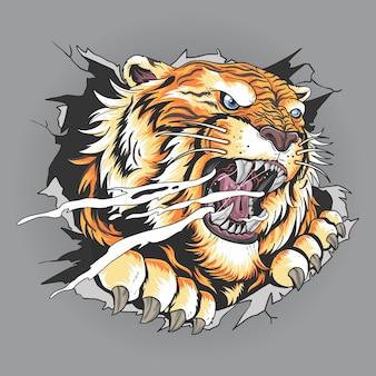 Der kopf des tigers riss durch die wand