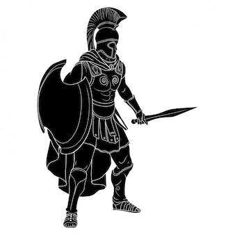 Der krieger des römischen reiches in rüstung und ein helm mit einer waffe in der hand stehen für angriff und verteidigung bereit