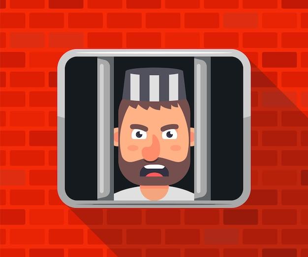 Der kriminelle sitzt im gefängnis und schaut aus dem fenster. flache vektorillustration.