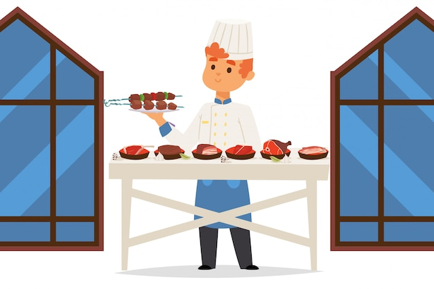 Der küchenchef im fleischrestaurant präsentiert verschiedene gerichte
