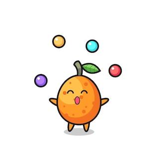 Der kumquat-zirkus-cartoon, der mit einem ball jongliert, niedliches design für t-shirt, aufkleber, logo-element