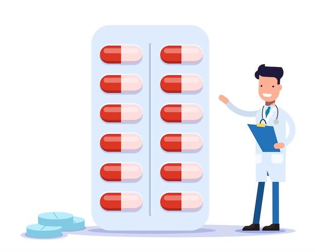 Der lächelnde arzt verschreibt medikamente. fröhlicher apotheker bietet an, medikamente zu kaufen.