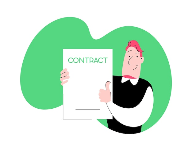 Der lächelnde mann mit einem poster. vektor-cartoon-süße figur aus einfachen linien und farben mit exemplar. beschäftigung für arbeitskonzept
