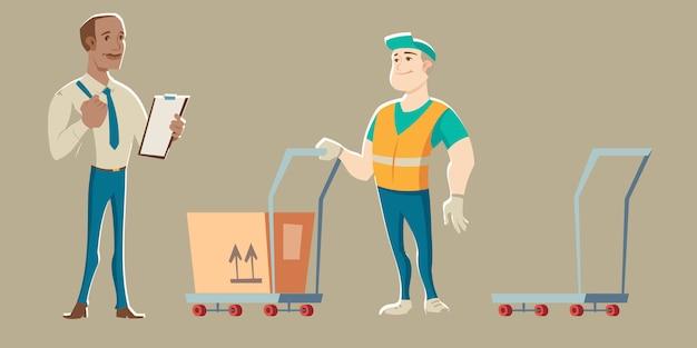 Der lagerarbeiter nimmt die lieferung vom kurier entgegen