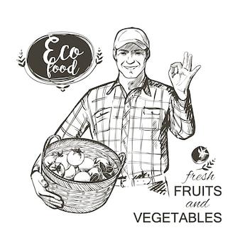 Der landwirt in der kappe, die voll einen korb von frischgemüsetomaten und -kräutern trägt, lokalisierte vektorillustration