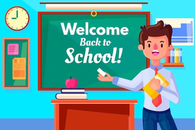 Der lehrer begrüßt das thema der schule
