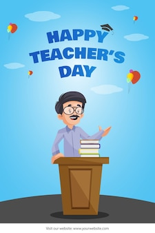 Der lehrer hält eine rede auf dem banner des lehrertags