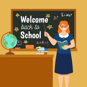 Der lehrer heißt die schule willkommen