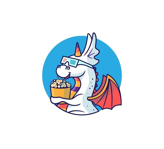 Der logo-drache in 3d-brille genießt popcorn. regenbogen-einhorn-monster.
