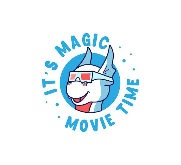 Der logo-drache sieht sich einen film an. cartoon-monster mit einer schriftzugsphrase.