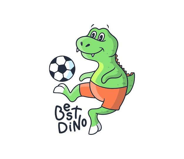 Der lustige dino-junge, der fußball spielt. cartoonischer sportdinosaurier mit einem ball und einer schriftzugphrase - bester dino.
