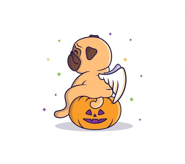 Der lustige mops-engel, der nachts unter den bunten starts auf dem kürbis sitzt. vektor halloween illustration