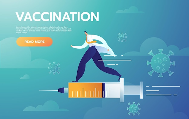 Der männliche arzt repräsentiert die injektionsbehandlung, die mit der impfstoffspritze fliegt