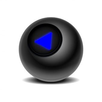 Der magische ball der vorhersagen für die entscheidungsfindung. realistische schwarze acht kugel auf einem weißen hintergrund. eps 10