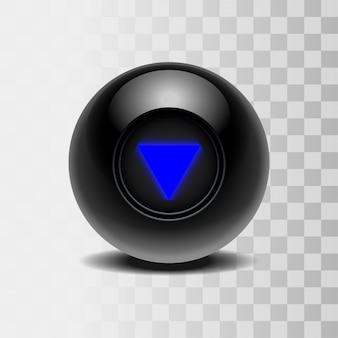 Der magische ball der vorhersagen für die entscheidungsfindung. realistischer schwarzer ball auf transparentem hintergrund. illustration