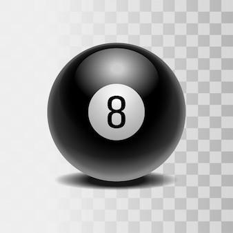 Der magische ball der vorhersagen für die entscheidungsfindung. realistischer schwarzer ball mit nummer acht