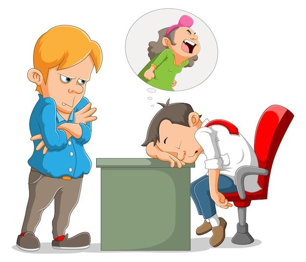 Der manager denkt daran, den schlafenden mitarbeiter anzuschreien