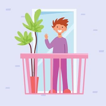 Der mann auf dem balkon. vektorillustration im flachen stil