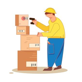 Der mann, der ein foto eines barcodes auf den verpackungsregalen macht, legt mit einem scanner fest