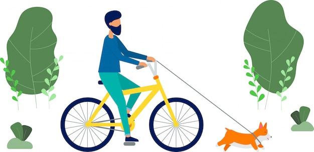 Der mann fährt fahrrad, er geht mit dem hund der rasse welsh corgi spazieren. frühlingsbäume und pflanzen. nette flache artvektorillustration.