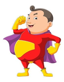 Der mann mit dem superheldenkostüm der illustration