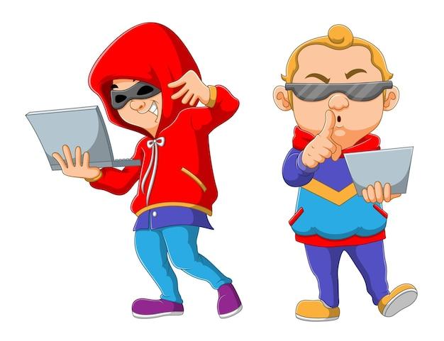Der mann mit zwei hackern trägt den laptop hoch und trägt einen hoodie mit einer schwarzen illustrationsbrille