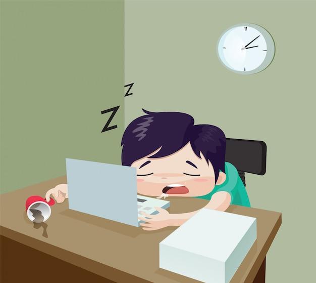 Der mann schläft auf der schreibtischarbeit. konzept: zu viel arbeit, versucht, hart arbeiten, vektorkarikatur