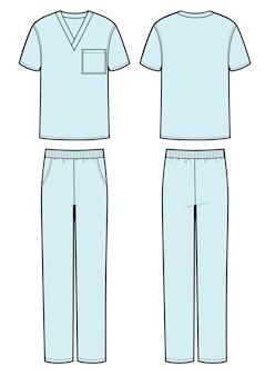 Der mann trägt ein medizinisches t-shirt und eine hose