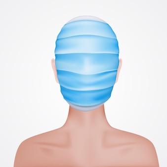 Der mann versteckte sein gesamtes gesicht in einer medizinischen maske. virus-angst-konzept.