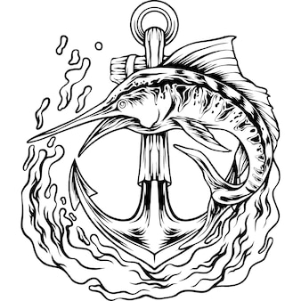 Der marlin-fisch mit anker-silhouette
