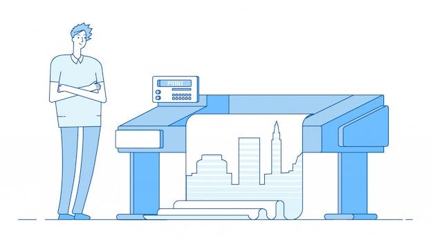 Der mensch arbeitet mit dem plotter. großformatdruck groß. print office verlagshaus konzept