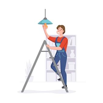 Der mensch bietet reparaturdienste in häusern oder büros an. der reinigungsservice arbeitet auf einer leiter. illustration.