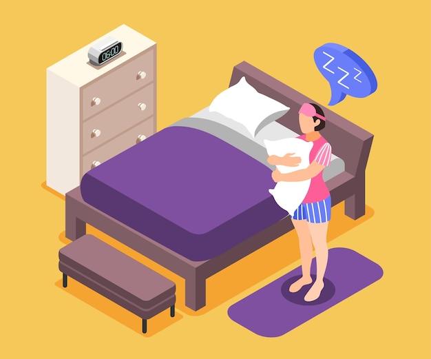 Der mensch braucht eine isometrische zusammensetzung mit symbolen für schlafbedürfnisse
