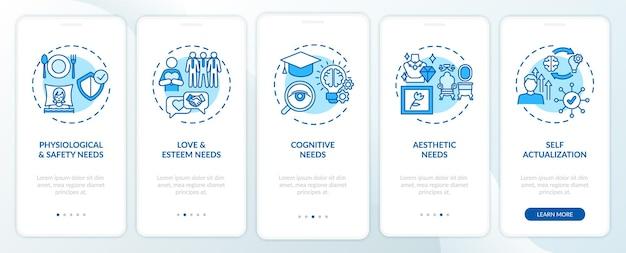 Der mensch braucht einen blauen onboarding-seitenbildschirm für mobile apps mit konzepten