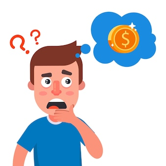 Der mensch denkt darüber nach, wo er das geld bekommen kann