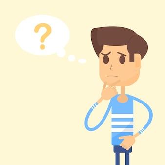 Der mensch denkt, und es gibt ein fragezeichen in der sprechblase