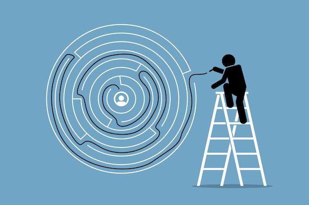 Der mensch findet erfolgreich die lösung und den ausweg aus einem runden labyrinth-puzzle.