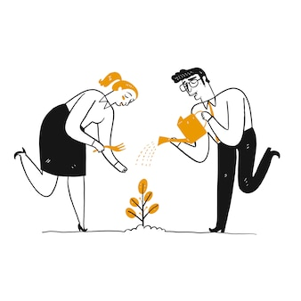 Der mensch gießt eine pflanze