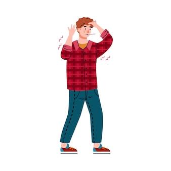 Der mensch hat kopfschmerzen und fieber von grippe oder vergiftung, flache vektorgrafik isoliert