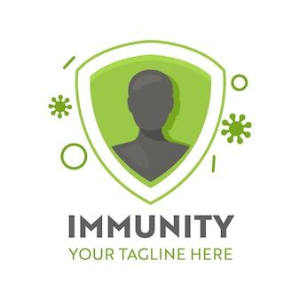 Der mensch im inneren von immunität shiled und viruszellen greifen das logo oder das symbol des gesundheitswesens an. gesundheitsvorsorge, gesunder körper