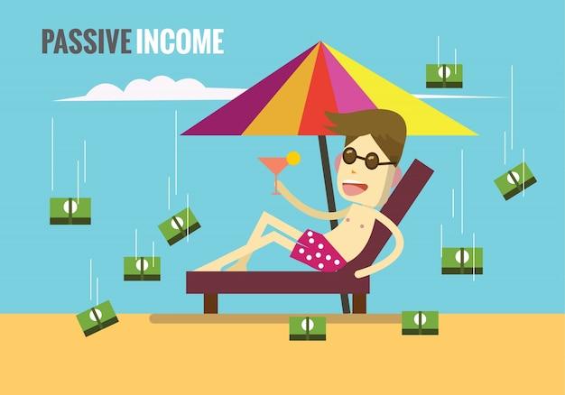 Der mensch liegt am strand, während das geld von den wolken herunter rollt. passives einkommen konzept. flache design-elemente. vektor-illustration