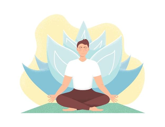 Der mensch meditiert in der natur. yoga, meditation, entspannen Premium Vektoren