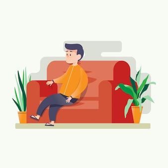 Der mensch sitzt entspannt