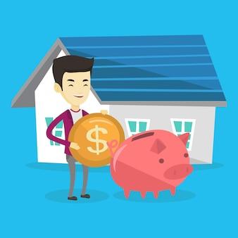Der mensch steckt geld in das sparschwein, um ein haus zu kaufen.