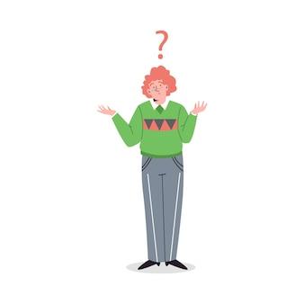 Der mensch trifft die entscheidung, wählt die richtige richtung im flachen cartoon-stil