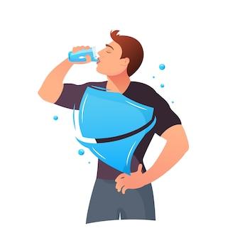 Der mensch trinkt wasser